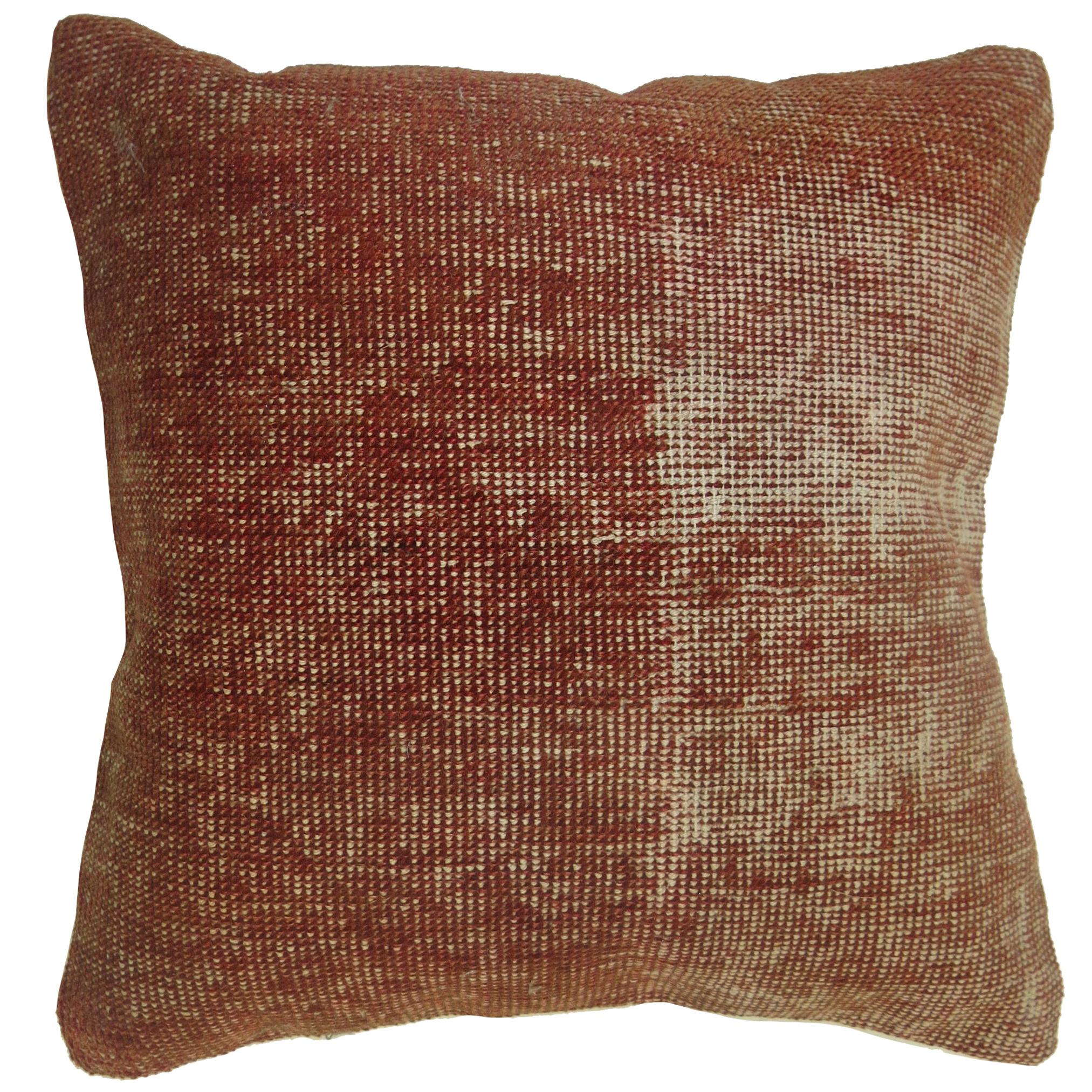 Burnt Orange Solid Turkish Distressed Rug Pillow