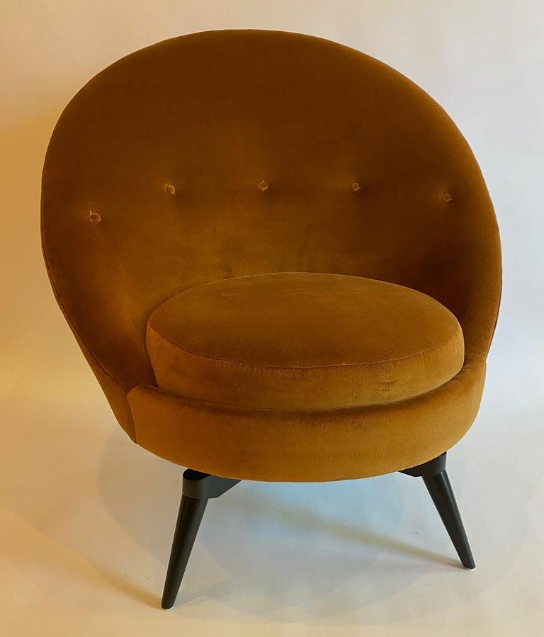 Mid-Century Modern Burnt Orange Velvet Swivel Chair For Sale