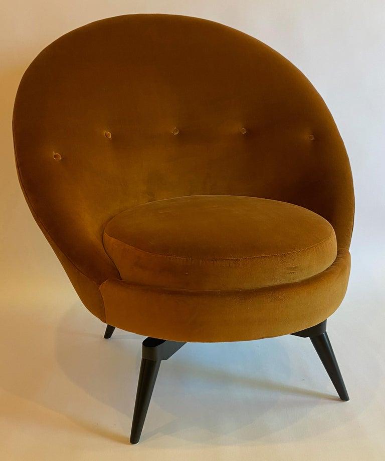 American Burnt Orange Velvet Swivel Chair For Sale