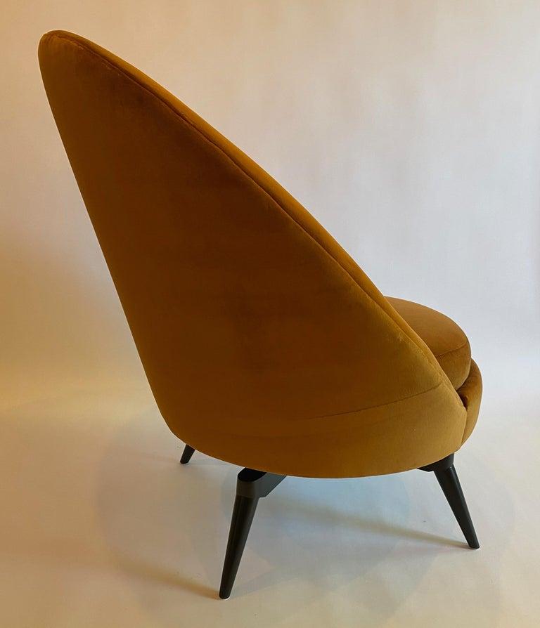 Burnt Orange Velvet Swivel Chair In New Condition For Sale In San Leandro, CA