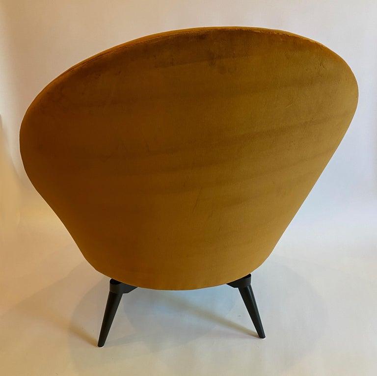 Contemporary Burnt Orange Velvet Swivel Chair For Sale