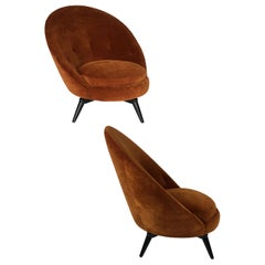 Burnt Orange Velvet Swivel Chair, Available in COM
