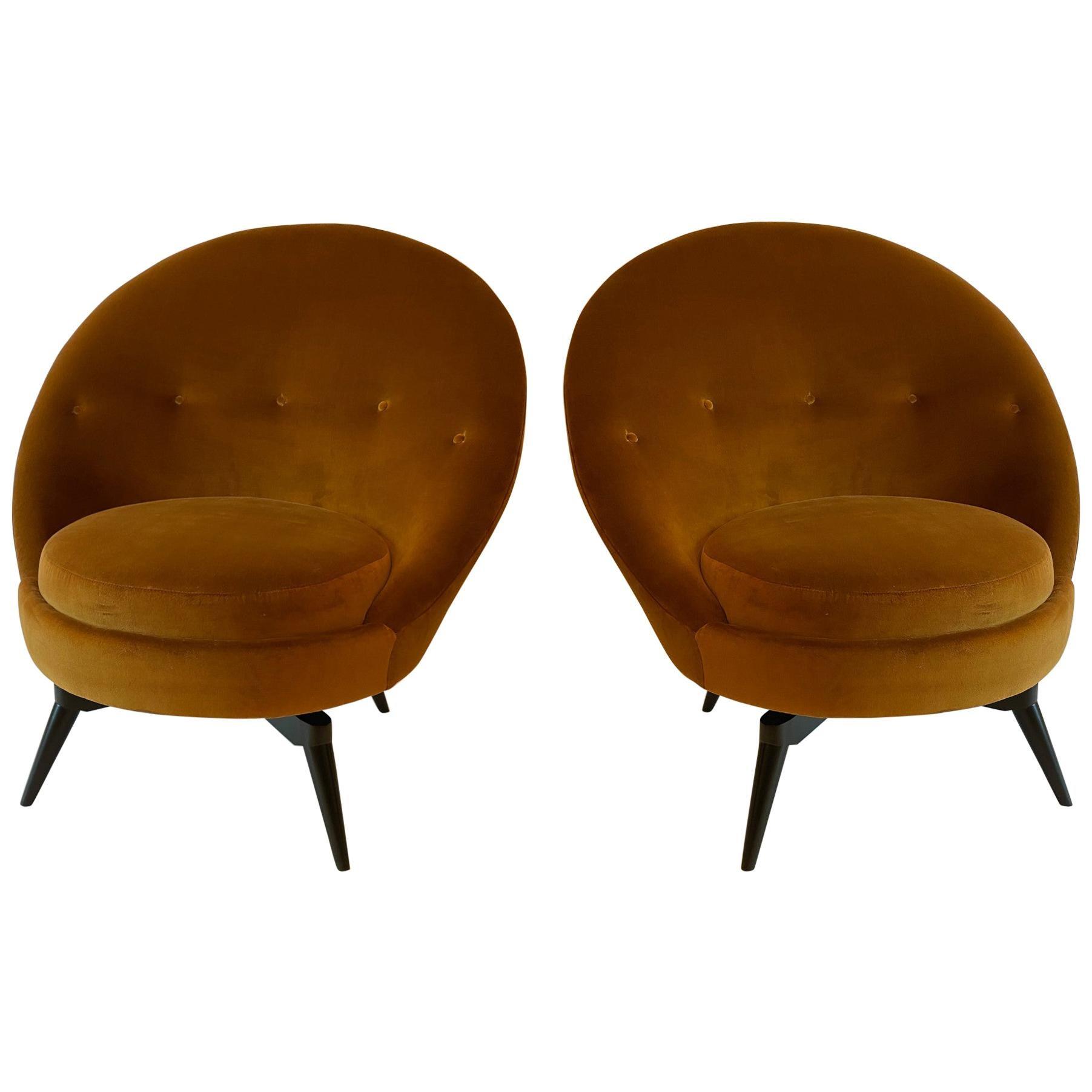 Burnt Orange Velvet Swivel Chair