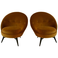 Burnt Orange Velvet Swivel Chair