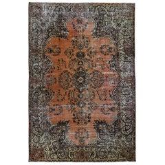 Burnt Orange Vintage Persian Lilahan Worn Hand Knotted Oriental Rug