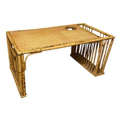 Burnt Tiger Wood Bamboo Breakfast Bed Tray with Magazine Rack and Cup Holder