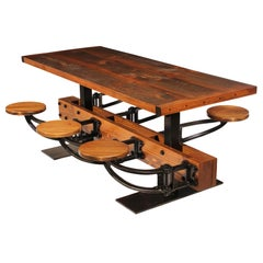Burnt Top Rustic Dining Table Set with Attached Cast Iron Swing out Seats