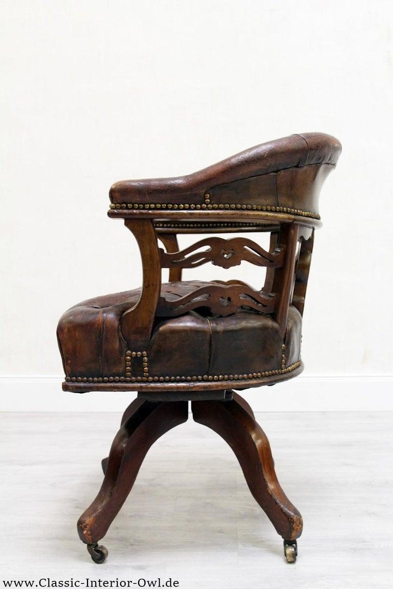 Bürostuhl Antik Chesterfield Sessel Bürosessel Leder