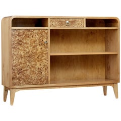 Burr and Elm Mid-20th Century Open Bookcase
