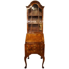 Burr and Figured Walnut Queen Anne Style Bureau-Bookcase