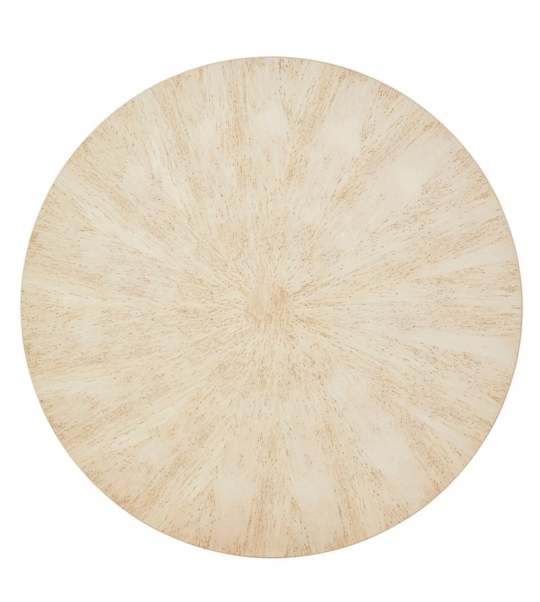 British Burr Birch Circular Extending Jupe Dining Table For Sale