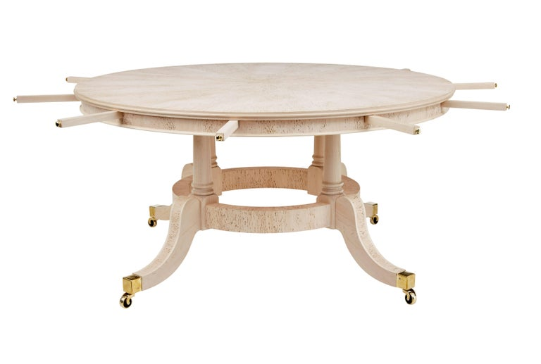 Woodwork Burr Birch Circular Extending Jupe Dining Table For Sale
