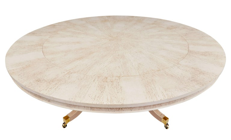 Contemporary Burr Birch Circular Extending Jupe Dining Table For Sale