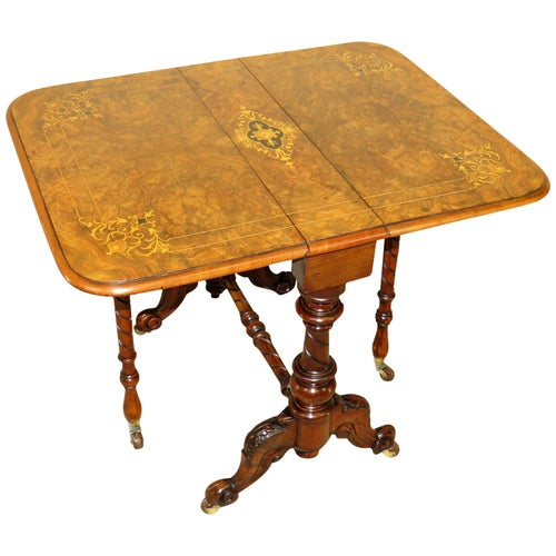 Burr Walnut 19th Century Antique Baby Sutherland Table