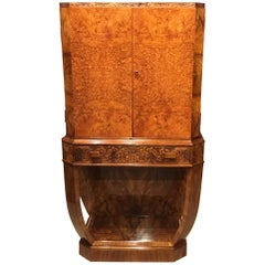Burr Walnut Art Deco Period Antique Cocktail Cabinet