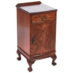 Antique Burr Walnut Bow Fronted Bedside Cabinet