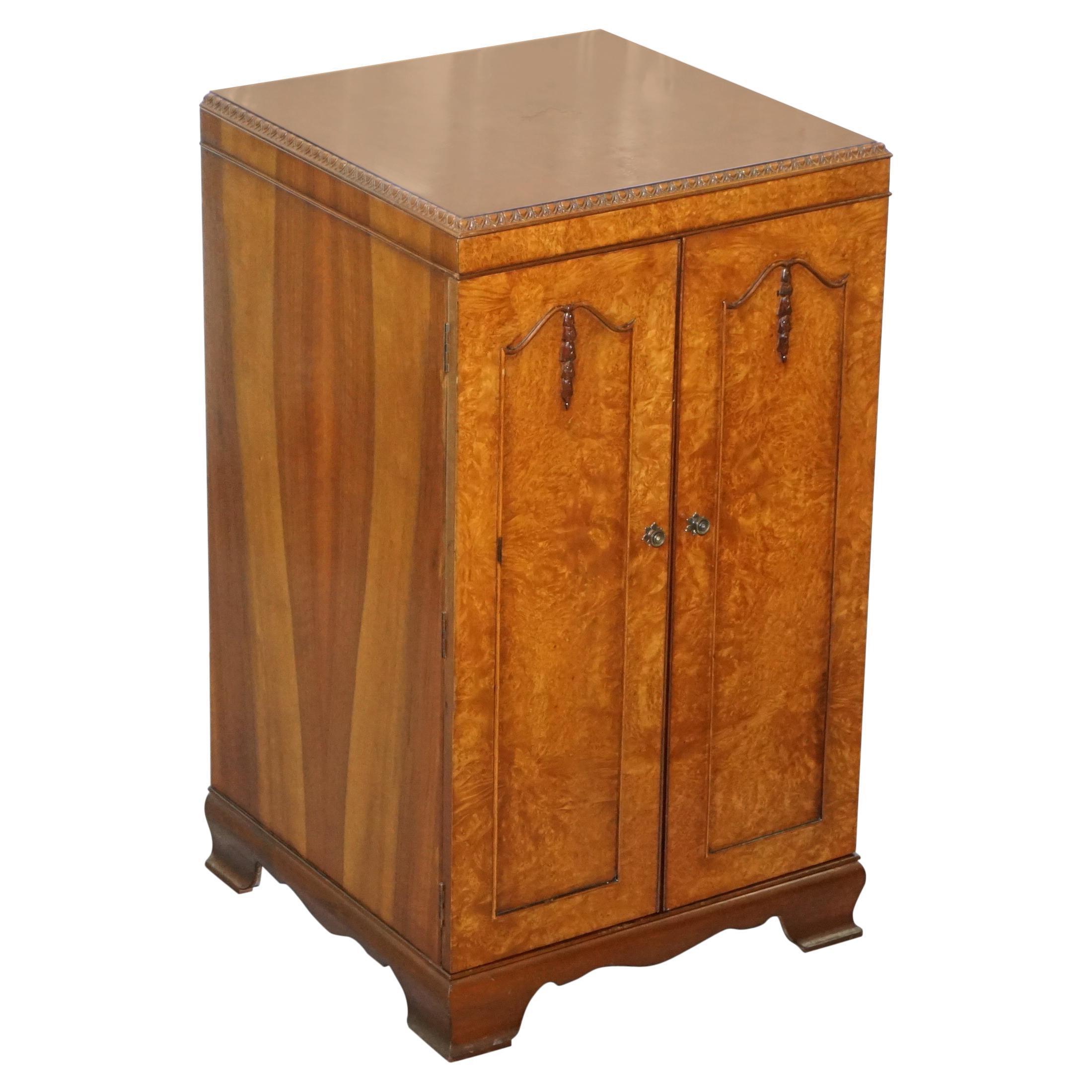 Burr Walnut circa 1920 Art Deco Drinks Cabinet Mirrored Back Lovely Tallboy Size