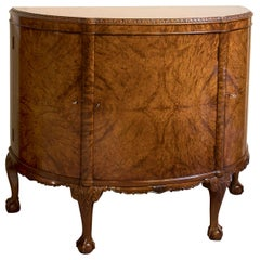 Burr Walnut Demilune Cabinet by Waring & Gillow, circa 1930