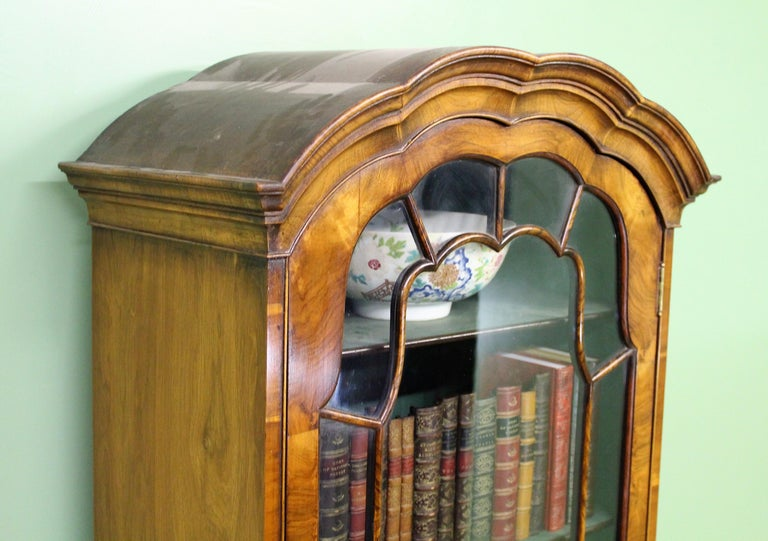 Burr Walnut Domed Top Bookcase For Sale 7
