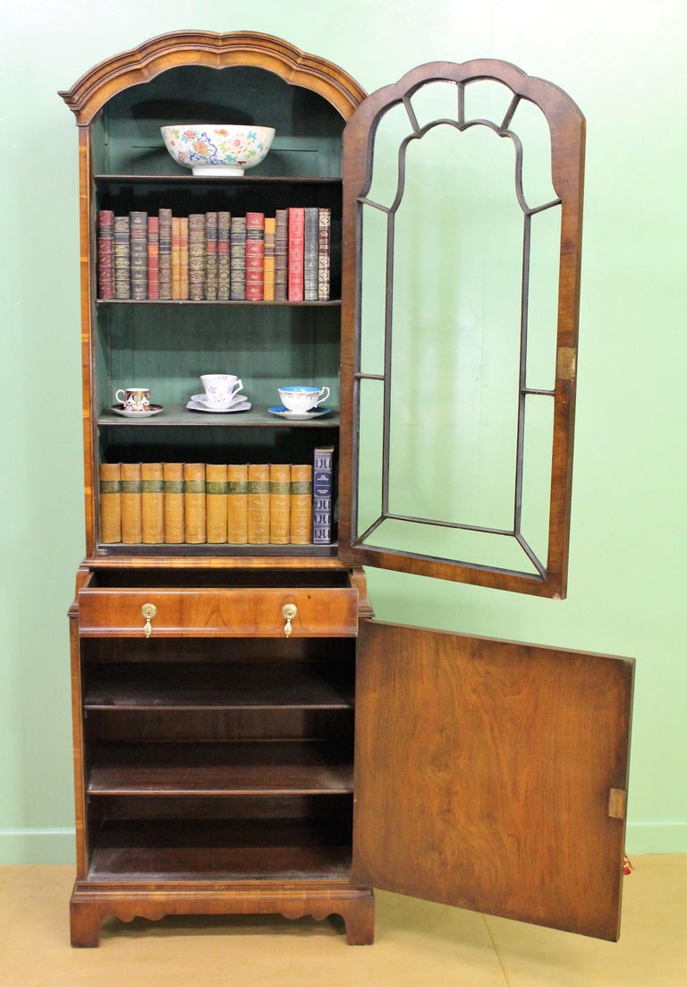Burr Walnut Domed Top Bookcase For Sale 9
