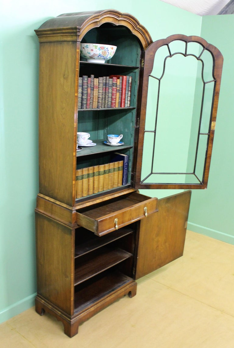 Burr Walnut Domed Top Bookcase For Sale 10