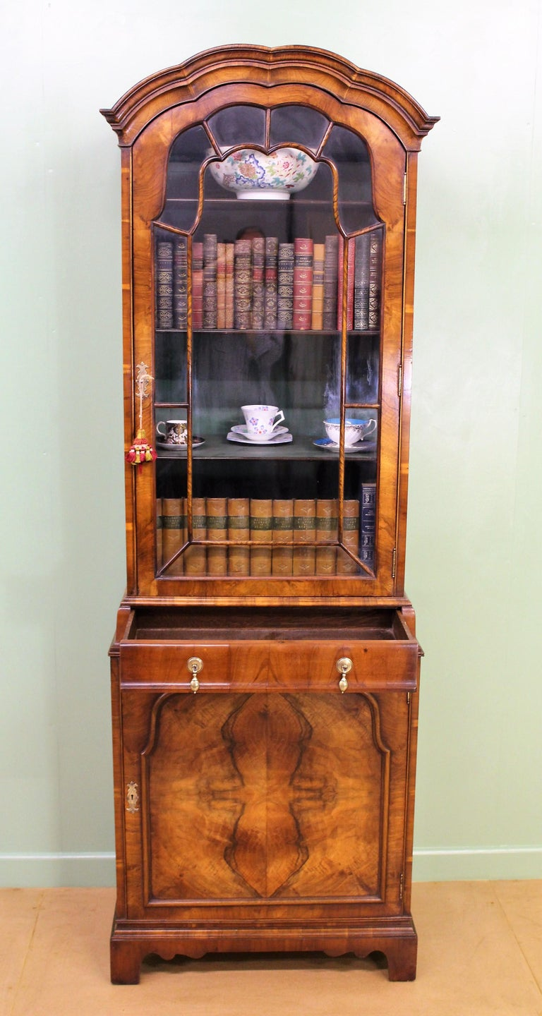 Early 20th Century Burr Walnut Domed Top Bookcase For Sale