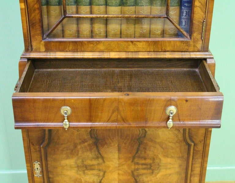 Burr Walnut Domed Top Bookcase For Sale 1