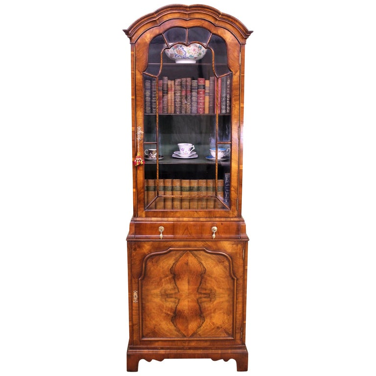 Burr Walnut Domed Top Bookcase For Sale