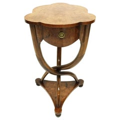 Burr Walnut Side Table with Curved Legs, 20th Century