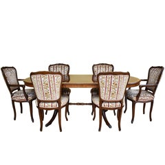 Burr Walnut Table and Six Dining Chairs by H&L Epstein