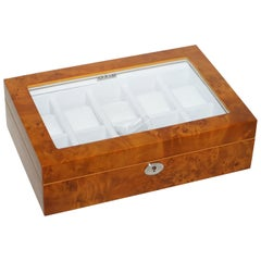 Burr Walnut Watch Display Case with Lock and Keys Exhibition Case