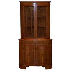 Burr Yew Wood Bradley Furniture Astral Glazed Corner Cupboard Bookcase Cabinet