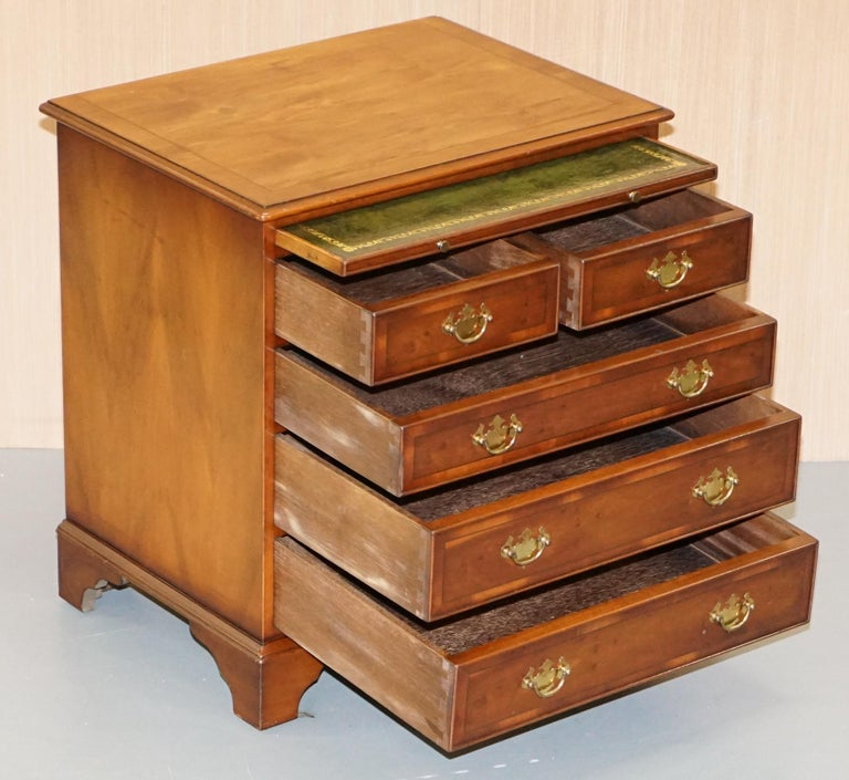 Burr Yew Wood Chest of Drawers Butlers Leather Serving Tray Large Side Table For Sale 7