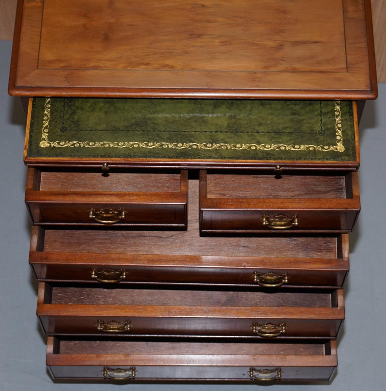 Burr Yew Wood Chest of Drawers Butlers Leather Serving Tray Large Side Table For Sale 8