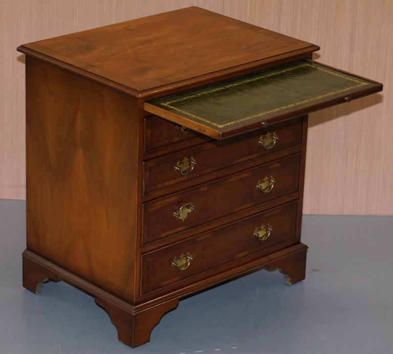 Burr Yew Wood Chest of Drawers Butlers Leather Serving Tray Large Side Table For Sale 9