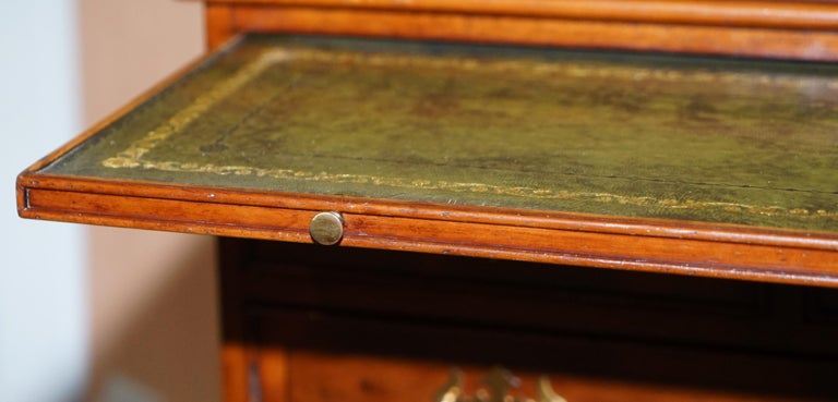 Burr Yew Wood Chest of Drawers Butlers Leather Serving Tray Large Side Table For Sale 13