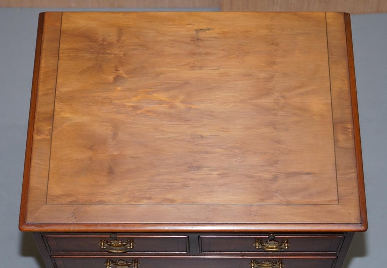 English Burr Yew Wood Chest of Drawers Butlers Leather Serving Tray Large Side Table For Sale