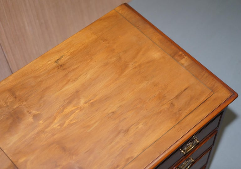Hand-Crafted Burr Yew Wood Chest of Drawers Butlers Leather Serving Tray Large Side Table For Sale