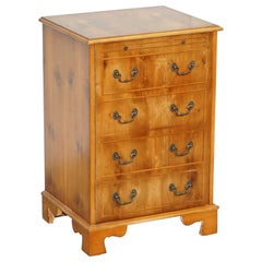 Burr Yew Wood Record Player Cabinet Cupboard Hidden as Regency Chest of Drawers