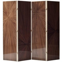 Burst Marquetry Screen by Demuro Das with Hand-Laid Olive Zebrano and Brass