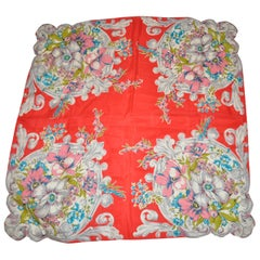 """""""Bursting Bouquets of Florals with Scallops Corners"""" Silk Scarf"""