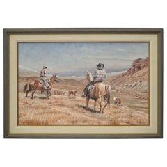 Burt Dinius Oil Painting, Fall Round Up, circa 1982
