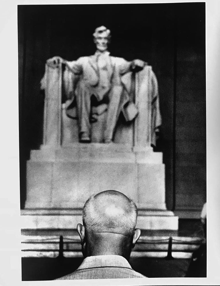 "The photograph is one of Photographer Burt Glinn's iconic works of historic importance. A photograph of Nikita Krushchev in front of Lincoln Memorial, 1959, Washington DC by Burt Glinn -  it is a vintage gelatin silver RC print, 10"" x 8"" -- a Burt"