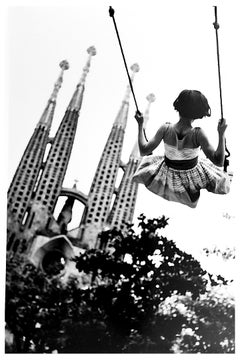 Swing, Black and White Portrait Photo of Child and Gaudi Cathedral Barcelona