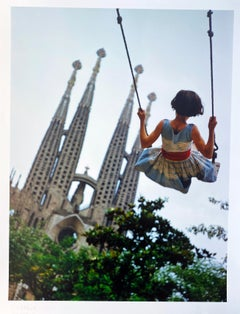 Swing, Color Portrait Photography Child and Gaudi Cathedral Barcelona, Spain