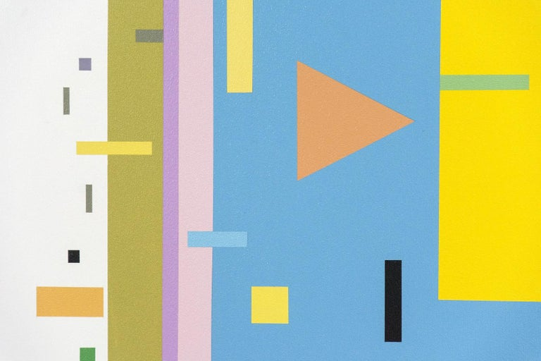 A staccato of geometric shapes in green, white and orange light up a ground of yellow and blue in this lively composition by Burton Kramer.   Like 20th century European painter Wassily Kandinsky, renowned for his experiments with synesthesia of