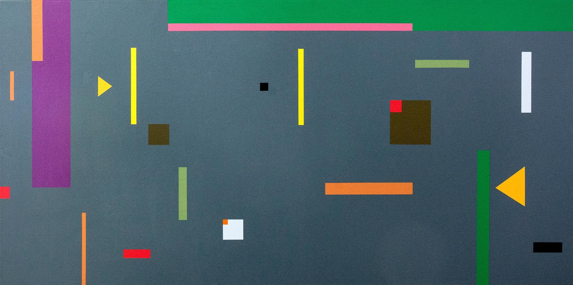 Contradance 1 - dynamic, geometric abstraction, modernist acrylic on canvas