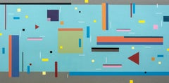 Contredance 10A - bright, geometric abstraction, modernist acrylic on panel