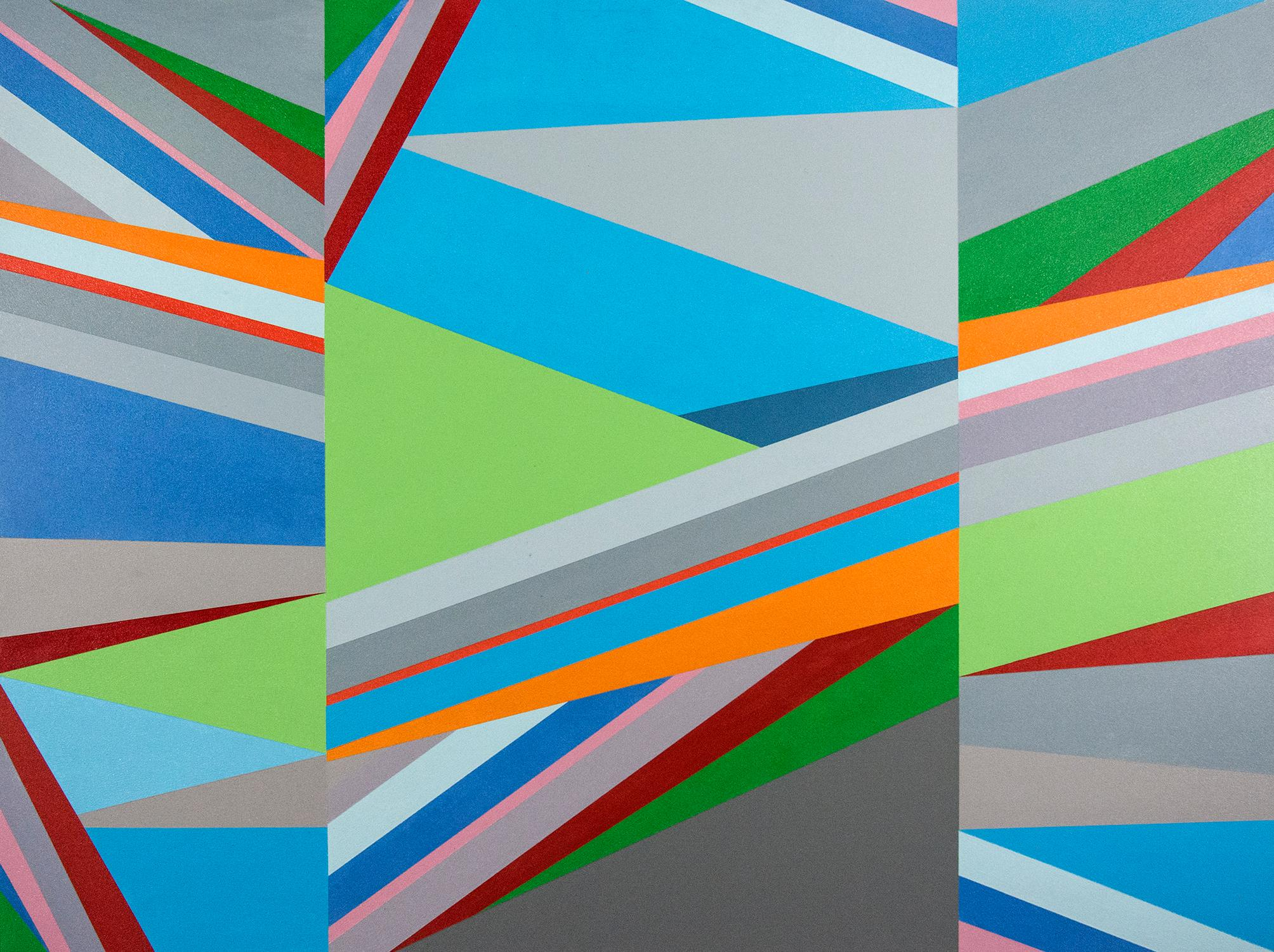 Crescendo 1 - bright, colorful geometric abstract, contemporary acrylic on panel