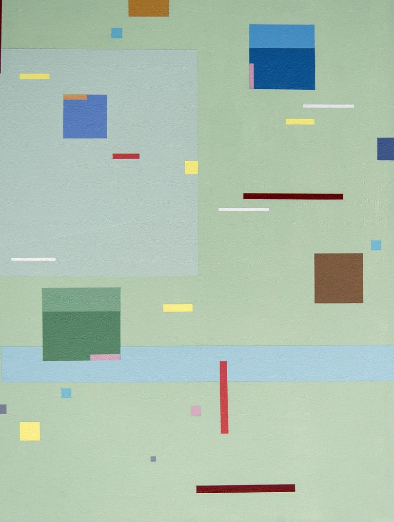Divertimento - colourful, geometric abstraction, modernist, acrylic on canvas - Gray Abstract Painting by Burton Kramer